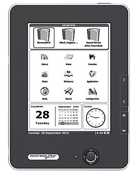 Electronic (E-Ink) technology makes reading with PocketBook Pro 602 much like reading an ink on paper book. The screen supports 16 shades of gray in reflecting light to display texts and illustrations.